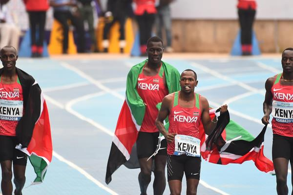 Kenya's victorious 4x400m relay squad at the African Championships in Asaba (AFP/Getty Images)