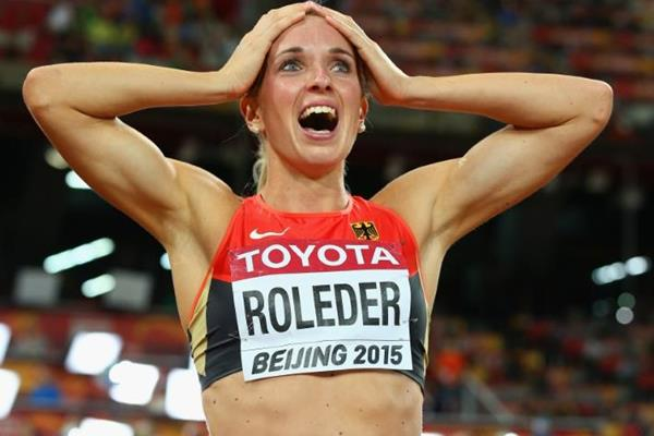 Cindy Roleder after taking silver in the 100m hurdles at the IAAF World Championships, Beijing 2015 (Getty Images)