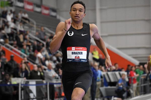 Donavan Brazier on the way to his 600m world best in New York (Kirby Lee)