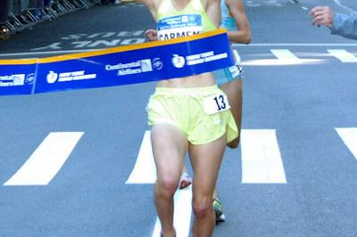 Carmen Duoma-Hussar winning on New York's Fifth Avenue (Courtesy of New York Road Runners)