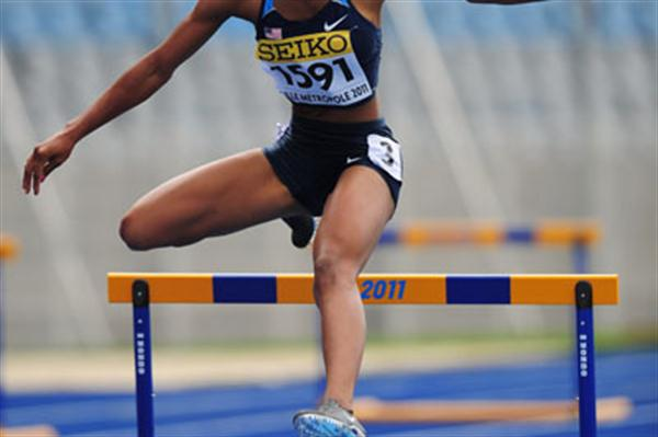 Nnenya HAILEY of USA in action during the Girls 400 metres hurdles semi final - Day two - WYC Lille 2011 (Getty Images)