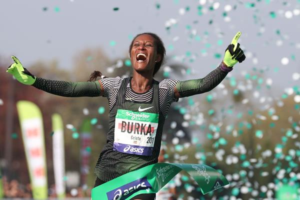 All smiles - Gelete Burka after winning the Paris Marathon (AFP/Getty Images)