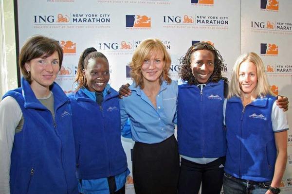 ING New York Marathon - Jelena Prokopcuka, Susan Chepkemei, race director Mary Wittenberg, Lornah Kiplagat and Jen Rhines (courtesy of New York Road Runners)
