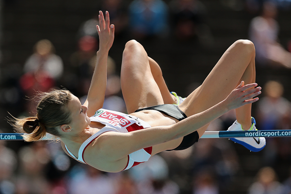 Laura Ikauniece in the heptathlon high jump (Getty Images)
