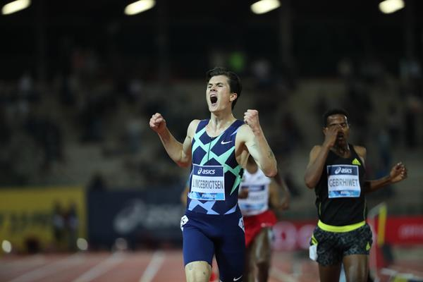 Jakob Ingebrigtsen wins the 5000m at the Wanda Diamond League meeting in Florence (Diamond League AG)