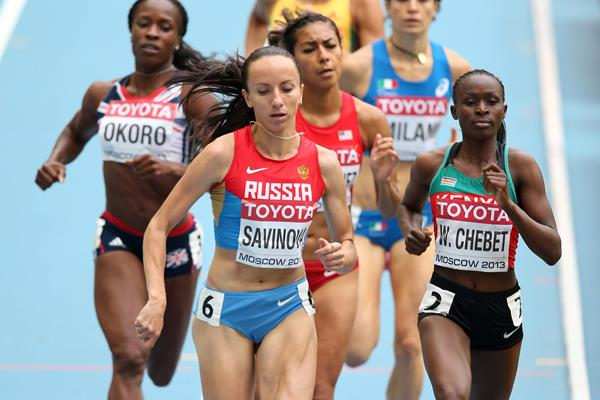 Mariya Savinova and Brenda Martinez in the womens 800m at the IAAF World Championships Moscow 2013 (Getty Images)