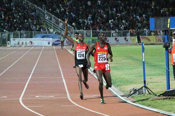 Joshua Cheptegei wins the African junior 10,000m title (Bizuayehu Wagaw)
