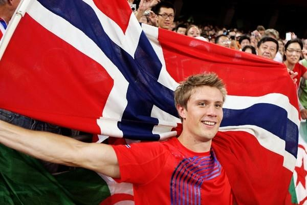 Andreas Thorkildsen celebrates his Olympic javelin victory (Getty Images)