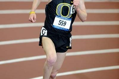 Galen Rupp of Oregon in the 3000m at the 2009 NCAA Indoor champs (Kirby Lee)