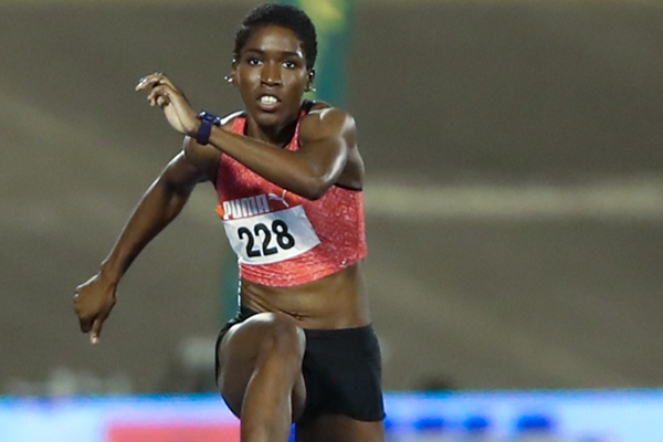 Janieve Russell at the 2018 Jamaican Championships (Athelstan Bellamy)