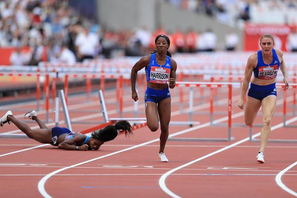 Jasmin Stowers falls at the last hurdle of the London Anniversary Games (Getty Images)