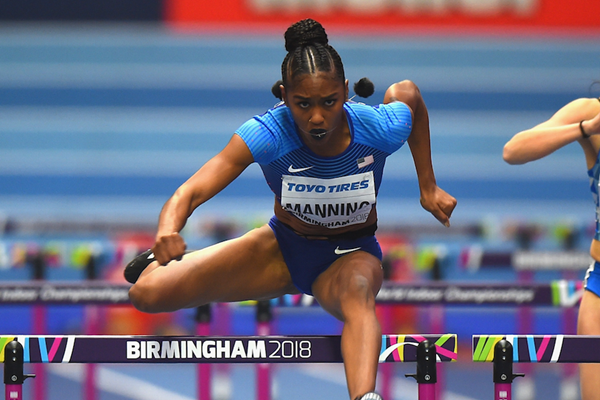 Christina Manning in the 60m hurdles at the IAAF World Indoor Championships Birmingham 2018 ()