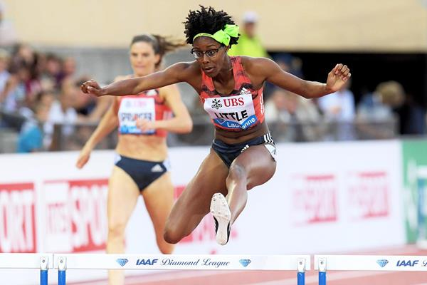 Shamier Little en route to her 400m hurdles win at the IAAF Diamond League meeting in Lausanne (Gladys Chai von der Laage)