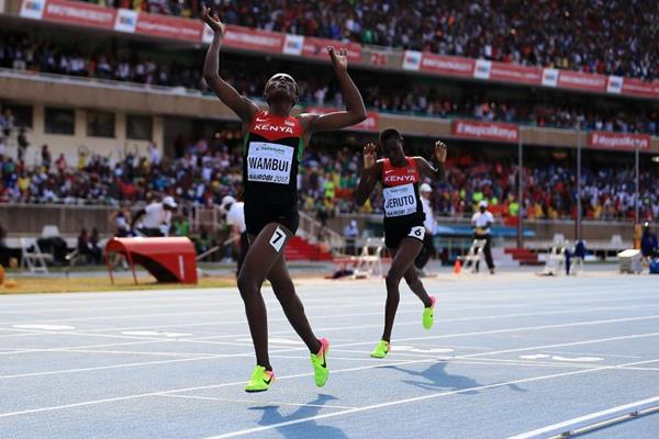 Jackline Wambui wins the girls' 800m at the IAAF World U18 Championships Nairobi 2017 (Getty Images)