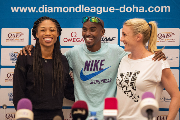 Allyson Felix, Mo Farah and Sally Pearson at the press conference ahead of the IAAF Diamond League meeting in Doha (DECA Text & Bild)