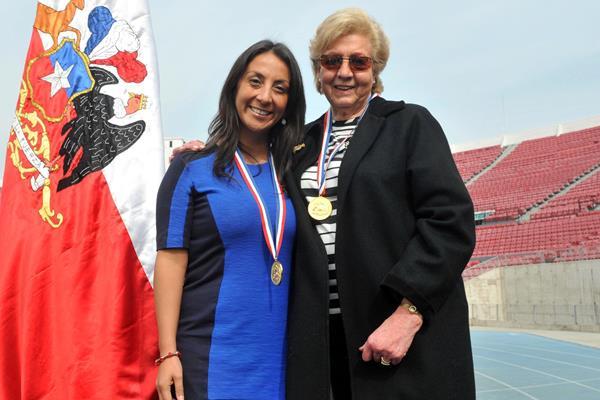 Marlene Ahrens (right) with Cecilia Perez, former Minister General Secretary of Government (Ministerio Secretaria General de Gobierno)