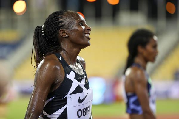Hellen Obiri after winning the 3000m at the Wanda Diamond League meeting in Doha (AFP / Getty Images)