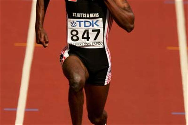 Kim Collins of Saint Kitts and Nevis in action in the men's 100m heats (Getty Images)