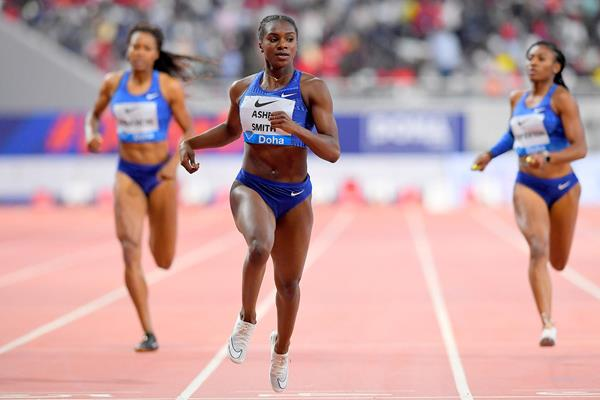 Dina Asher-Smith wins the 200m at the IAAF Diamond League meeting in Doha (Jiro Mochizuki)