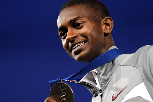 Mutaz Essa Barshim with the high jump gold medal at the 2010 IAAF World Junior Championships in Moncton (Getty Images)