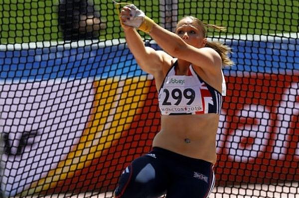 Sophie Hitchon of Great Britain throws a national record 66.01 to win the women's Hammer Throw in Moncton (Getty Images)