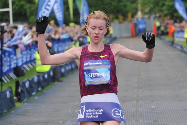 Kateryna Stetsenko winning at the 2014 Edinburgh Marathon (organisers / Lesley Martin)