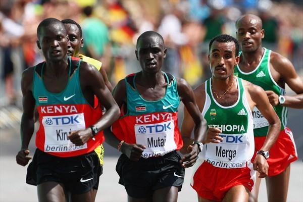 (L-R) Kenya's Abel Kirui of Keny and Emmanuel Mutai with Ethiopia's Deriba Merga in the men's Marathon at the IAAF World Championships in Berlin (Getty Images)