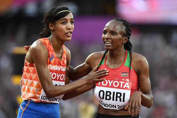Sifan Hassan and Hellen Obiri at the IAAF World Championships (AFP / Getty Images)