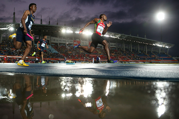 Delwayne Delaney of St Kitts and Nevis in the 4x200m at the IAAF World Relays (Getty Images)