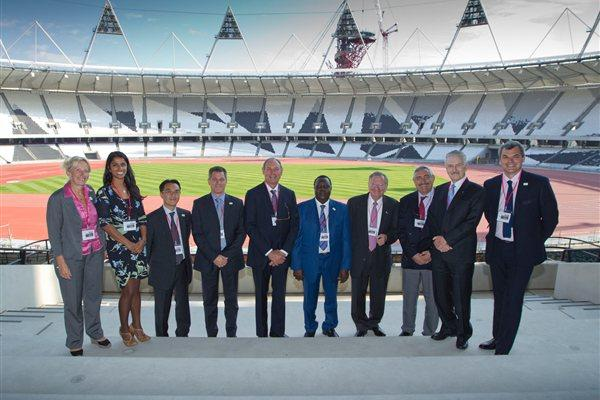 The IAAF Evaluation Commission at London's Olympic Stadium. From left: Isabelle Dupuis, Rowena Samasarinhe, Hiroshi Mochizuki of Dentsu, Paul Hardy, Alberto Juantorena, Hamad Kalkaba, Bob Hersh, Pierre Weiss, Cesar Moreno-Bravo, and Nick Davies (onEdition)