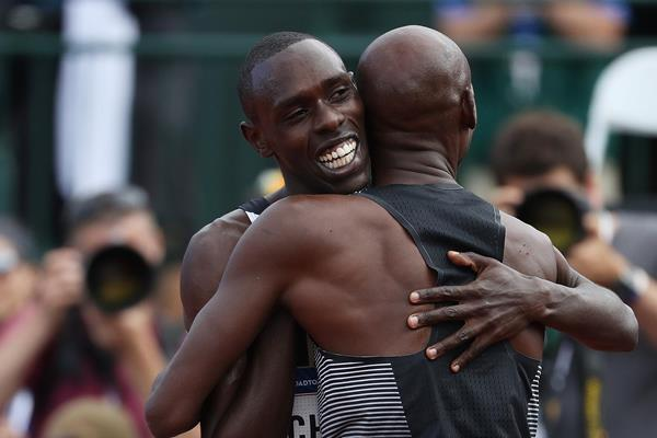 Paul Chelimo congratulates Bernard Lagat at the 2016 US Olympic Trials (Getty Images)