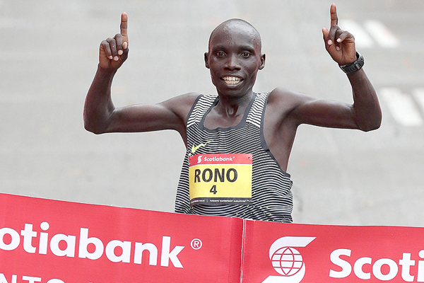 Philemon Rono wins the Toronto Waterfront Marathon (Organisers / Victah Sailer)