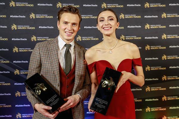 Karsten Warholm and Mariya Lasitskene with their European Athlete of the Year awards (European Athletics via Getty Images)