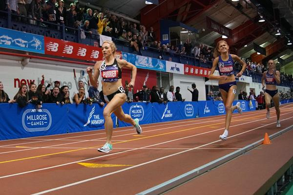 Elle Purrier wins the Wanamaker Mile at the Millrose Games (Kirby Lee)