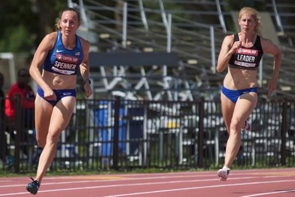 Sami Spenner (left) in the heptathlon 200m in Ottawa (Brian Rouble / organisers)