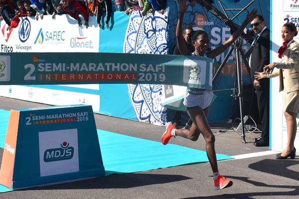 Failuna Abdi Matanga triumphs at the Safi International Half Marathon (Organisers)