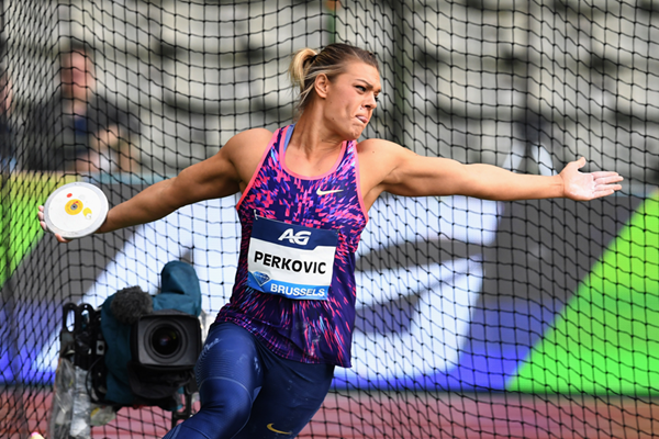 Discus winner Sandra Perkovic at the IAAF Diamond League final in Brussels (Gladys Chai von der Laage)