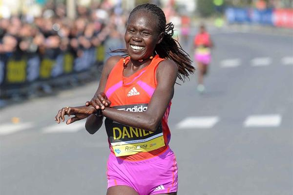 Filomena Cheyech Daniel wins the women's race at the Roma-Ostia Half Marathon (Organisers)