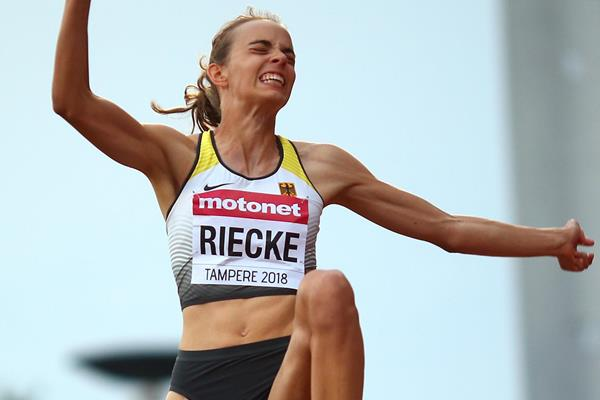 Lea-Jasmin Riecke in the long jump at the IAAF World U20 Championships Tampere 2018 (Getty Images)