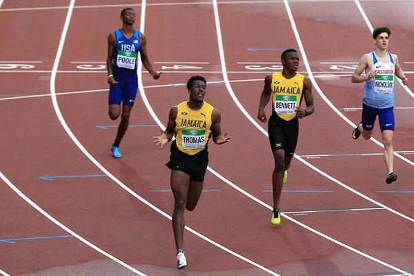 Damion Thomas wins the 110m hurdles at the IAAF World U20 Championships Tampere 2018 (Getty Images)