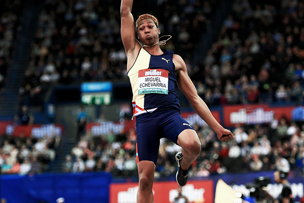 Juan Miguel Echevarria in the long jump at the IAAF World Indoor Tour meeting in Birmingham (Mark Shearman)