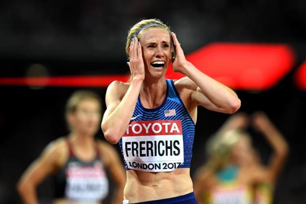Courtney Frerichs after racing to silver in the steeplechase at the IAAF World Championships London 2017 (Getty Images)