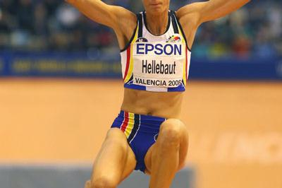 Tia Hellebaut lands at 6.41m in the pentathlon long jump (Getty Images)