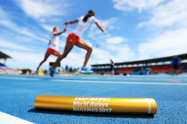 Baton practice ahead of the IAAF/BTC World Relays Bahamas 2017 (Getty Images)