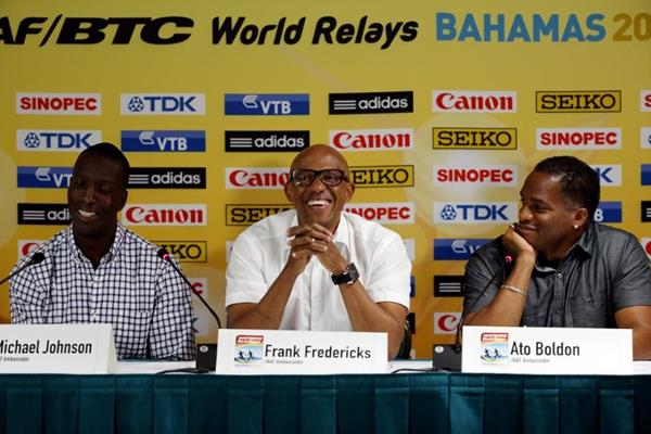 Michael Johnson, Frankie Fredericks and Ato Boldon at the IAAF/BTC World Relays, Bahamas 2015 press conference (Getty Images)