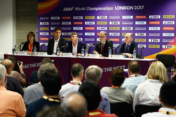 IAAF CEO Olivier Gers, IAAF President Sebastian Coe, Ed Warner, Co-Chair LOC and Niels de Vos, Director LOC at a press conference during the IAAF World Championships London 2017 (Getty Images)