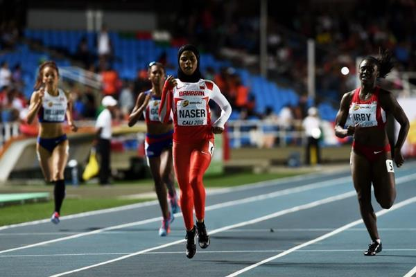 Salwa Eid Naser winning the girls' 400m at the IAAF World Youth Championships, Cali 2015 (Getty Images)
