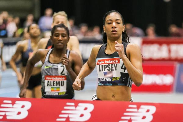 Charlene Lipsey winning the 800m at the IAAF World Indoor Tour meeting in Boston (Victah Sailer)