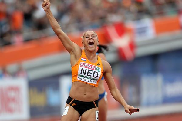 Naomi Sedney anchors the Netherlands to the European 4x100m relay title and national record (Getty Images)