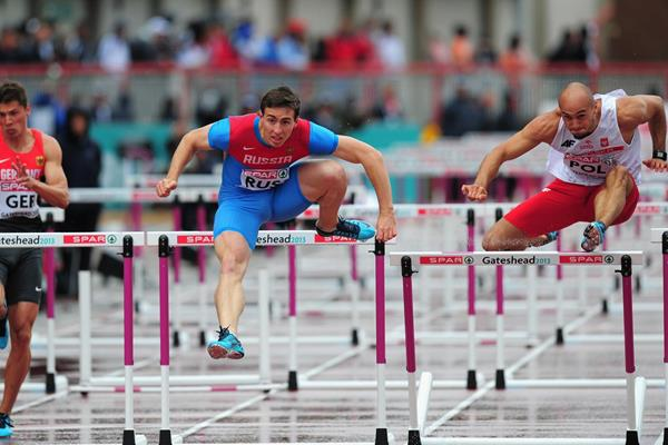Sergey Shubenkov on his way to winning the 110m Hurdles at the 2013 European Team Championships (Getty Images)